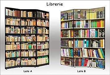 Separè Paravento bifacciale Librerie in Tela di Cotone e Legno - Alta qualità | 3 Pannelli: 135, 6 x 176 x 3, 1cm Deco Italia