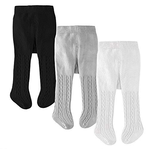 slaixiu Cotton Baby Girl Tights Cable Knit Seamless Toddler Leggings Pantyhose Pants Stockings 3-Pack(White&Gray&Black_0-6 ()