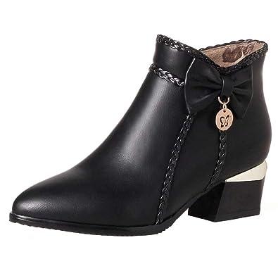 AIYOUMEI Damen Blockabsatz High Heels Stiefeletten mit 5cm