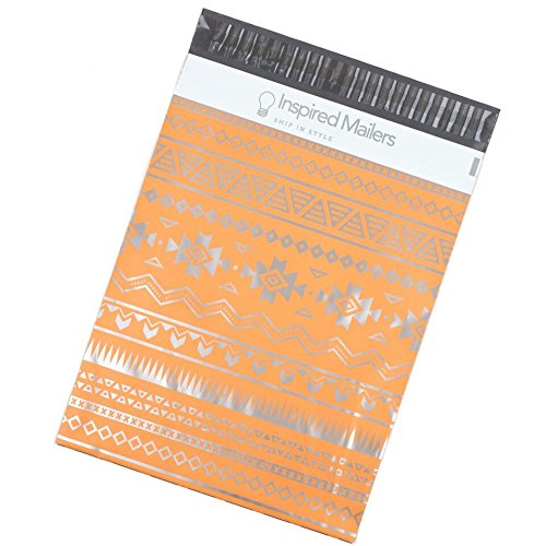 Inspired Mailers Poly Mailers 10x13 Deluxe Southwest Tribal Pattern – Pack of 100 – Unpadded Shipping Bags (Pink/Silver) by Inspired Mailers (Image #1)