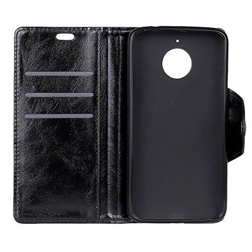 Funda Motorola Moto E4 Plus (American Version) [Happon] Ranuras para Tarjetas y Billetera Carcasa PU Libro de Cuero Flip Leather Cierre Magnético Soporte Plegable para Motorola Moto E4 Plus (American  Negro