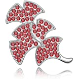 Rarelove Jewelry Crystal Ginkgo Leaf Light Red Brooch