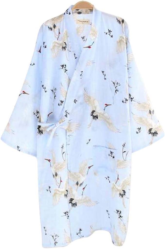 Kimono de Gasa de algodón japonés Camisón Pijama Largo ...