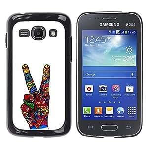 For Samsung Galaxy Ace 3 III / GT-S7270 / GT-S7275 / GT-S7272 Case , Victory Hand Sign Abstract White - Diseño Patrón Teléfono Caso Cubierta Case Bumper Duro Protección Case Cover Funda