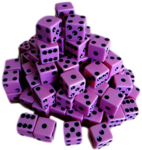 Custom & Unique {Standard Medium 16mm} 100 Ct Bulk Lot Pack Set of 6 Sided [D6] Square Cube Shape Playing & Game Dice Made of Plastic w/ Classy Simple Board Game Design [Pink & Black Colored] by mySimple Products