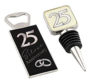 25th Silver Anniversary Wine Bottle Stopper and Opener Special Gift Set By Haysom Interiors