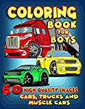 Cars, Trucks and Muscle Cars Coloring Book for