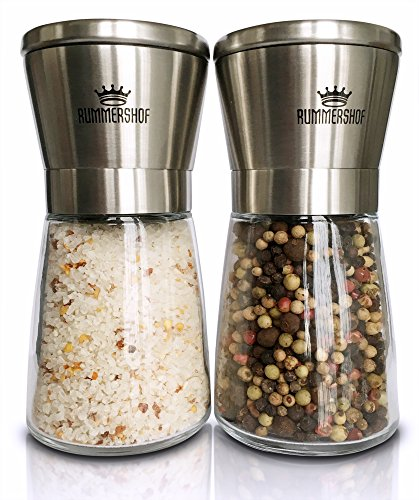 Salz und Pfeffermühle Set | Design Duo manuelle Salz und Pfeffer Mühlen mit Keramikmahlwerk | Kombi Gewürzmühle aus Edelstahl | Kräutermühle | Salzmühle für Meersalz