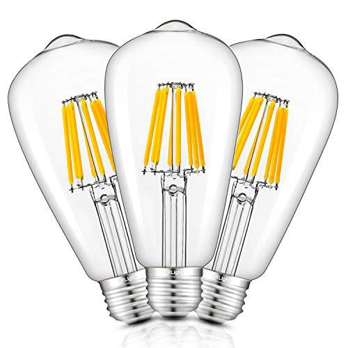 CRLight 8W Dimmable LED Edison Bulbs 2700K Warm White 750LM, 75W Equivalent E26 Medium Base, ST21(ST64) Vintage LED Filament Bulbs, 360 Degrees Beam Angle, Pack of 3