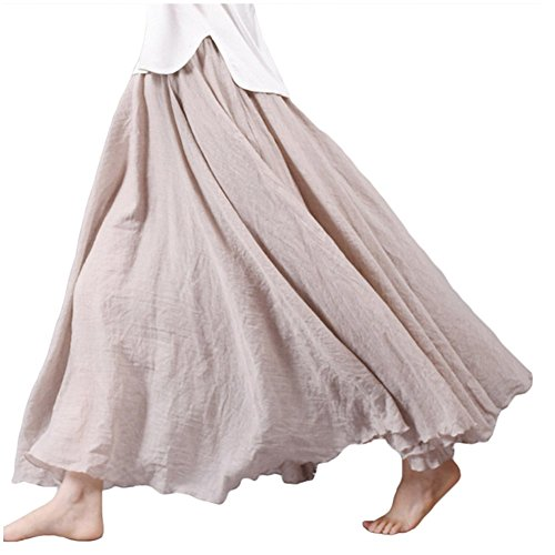 Skirt Circle Cotton (Asher Women's Bohemian Style Elastic Waist Band Cotton Linen Long Maxi Skirt Dress (95CM, Beige))