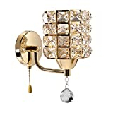 INHDBOX Luxury Crystal Wall Sconce,E27 Wall Light Lighting Fixture-for Bedside Lamp,living room & more-Include 5W Bulb