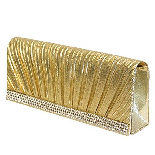 Neu! Abendtasche Damentasche Tasche Clutch Hochzeit Brauttasche Handtasche verschiedene Farben und Varianten (Gold (Faltenwurf))