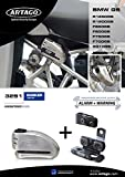 Artago 32S1 Anti-Theft Disc Lock with Alarm 120db High Range and Support for BMW R1200gs, S.A.A Closure, Approved SRA, Bunker Selection, Stainless Steel