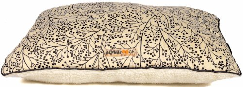 AlphaPooch Softie Rectangular Dog Bed Berry Branch Black Fab
