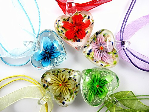 BRCbeads Lampwork Glass Crystal Flower Heart Shape Series 5 Assorted Colors (Peridot/Aquamarine/Vintage Rose/Pink/Light Yellow) Murano Floral Glass Handcraft Pendant 5pcs for Necklace Making