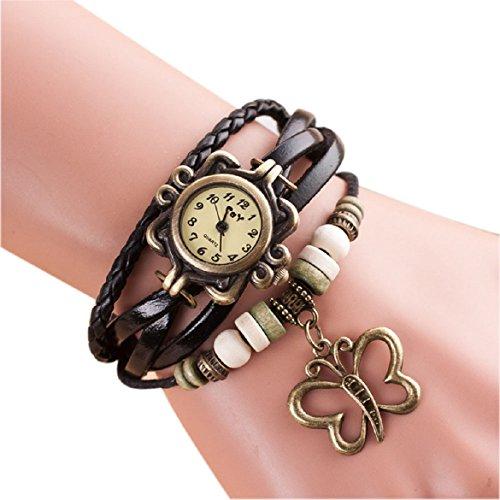 Sandistore Quartz Weave Around Leather Butterfly Bracelet Lady Woman Wrist Watch (Black)