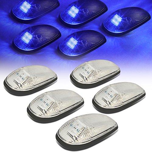 (For Dodge Ram 1500/2500 / 3500 BE 5 X LED Cab Roof Top Lights (Chrome Housing Blue LED))