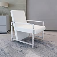 SKB Family Artificial Leather Cube Relax Armchair White with Chrome Feet Open Style Chair