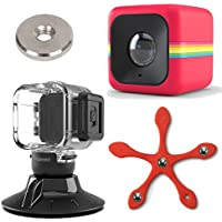 Polaroid Cube ACT II HD 1080p Lifestyle Action Video Camera (Red) Gift Bundle + Waterproof Case + Suction Mount + Flexi Pod Mount + Magnet Adapter