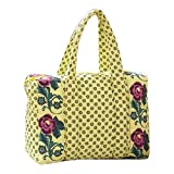 quilted fabric bags - Womens Girls Small Yellow Floral Quilted Fabric Satchel Purse Bag Handbag With Zipper