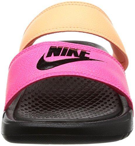 NIKE Womens Benassi Duo Ultra Slide Snadals Racer Pink/Black/Sunset Glow 819717-602 (5 B(M) US)