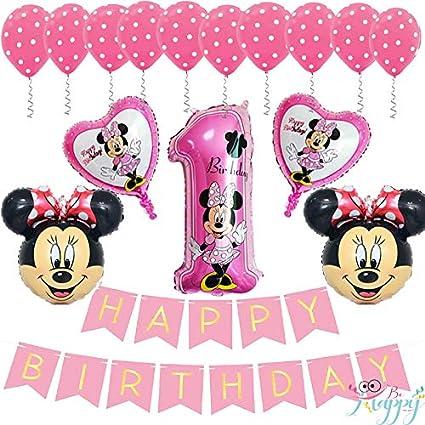 Amazon.com: Banner de cumpleaños con diseño de Minnie Mouse ...