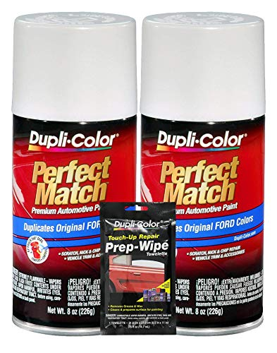 Duplicolor Performance White Exact Match Touch-Up Paint (8 oz) Bundle with Prep Wipe Towelette (3 Items) (Windstar Panel Ford Header)