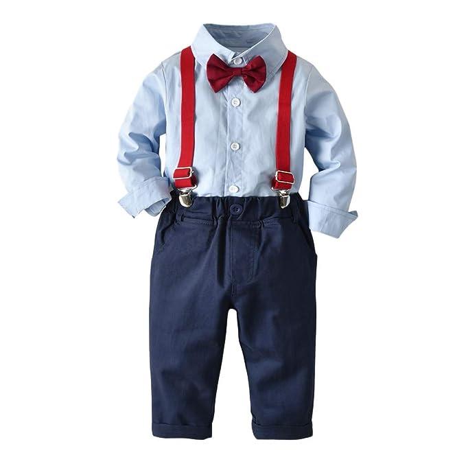Babyset Anzug Hemd mit Fliege Jungen Hemd+Hose+Träger Sommer NEU