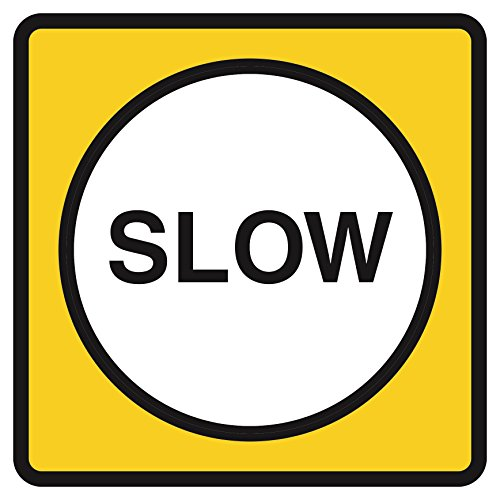 Yellow Road Sign - Slow Yellow Notice Road Street Signs Commercial Plastic Square Sign - Single Sign, 12x12
