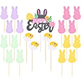 Easter Cupcake Toppers Decorations, Happy Easter/ Colorful Bunny Rabbit/ Chicken Cupcake Toppers Decor Food Picks, 21 Pieces in Total