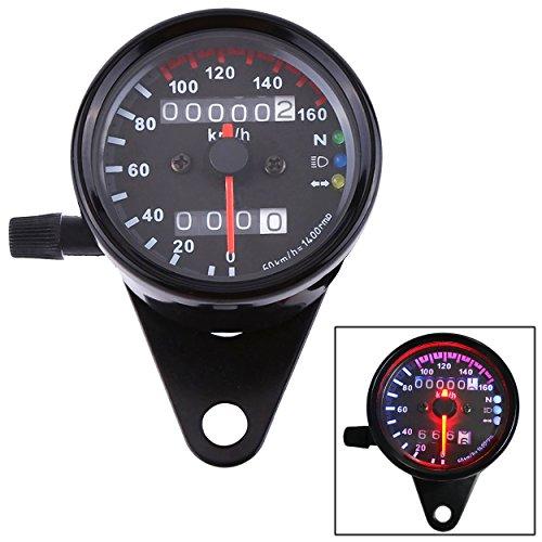 IZTOSS Motorcycle Dual Odometer Speedometer Gauge LED Backlight Signal Light black