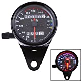 Ambuker Motorcycle Universal Dual Odometer Speedometer Gauge 0-160km/h LED Backlight Signal Light Neutral Headlight Indicator