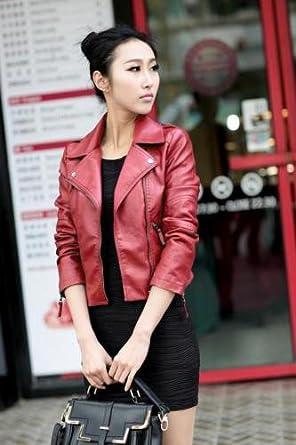 PATTONJIOE Women's Slim Motorcycle Soft Leather Power Shoulder Zipper Jacket