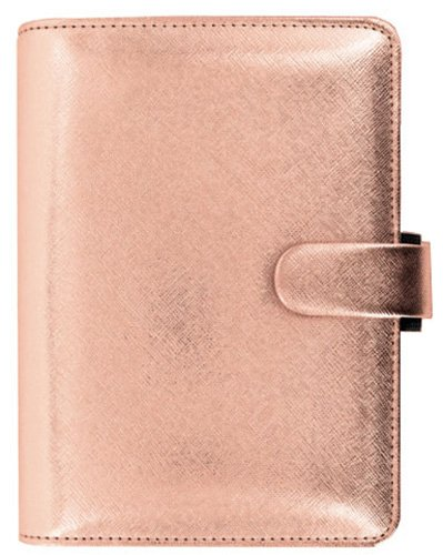 Filofax Saffiano Rose Gold Personal Size PU-Leather Organizer Agenda RIng Binder 2017 Calendar with DiLoro Jot Pad Refills 022573