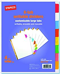 Staples Write-On BIG TAB Dividers, 5-Tab Set, White Tabs, 4/Pack