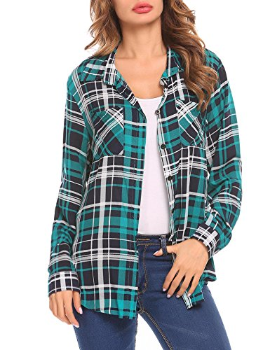 SummerRio Plaid Shirt Ladies Casual Long Sleeve Button Down Boyfriend (Sleeve Western Plaid Shirt)
