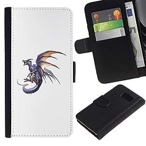Billetera de Cuero Caso Titular de la tarjeta Carcasa Funda para Samsung Galaxy S6 SM-G920 / Dragon Grey Fire Flying Wild Mythical Animal / STRONG