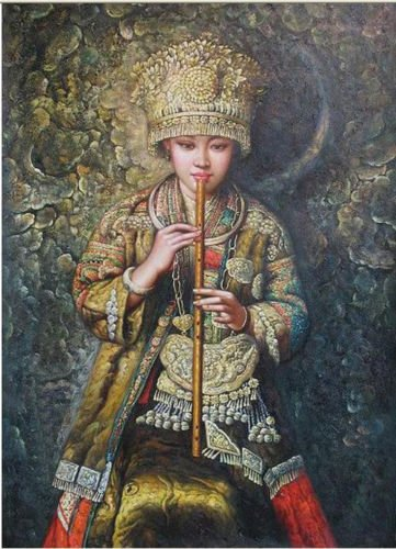 100% Genuine Real Hand Painted portrait Chinese young Minority Hmong girl playing Canvas Oil Painting for Home Wall Art Decoration, Not a Print/ Giclee/ Poster, FRAMED, Ready to Hang