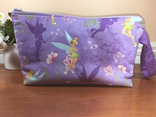 Large Tinker Bell Wristlet Zipper Pouch, Cosmetic Bag, Travel Pouch