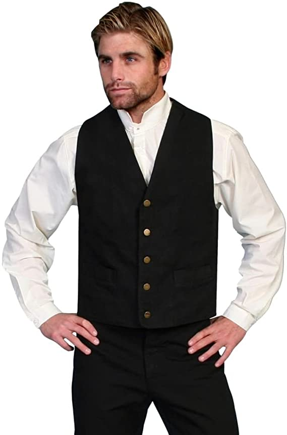 1920s Style Mens Vests Scully Western Vest Mens Lined No Lapel Five Button Front F0_RW041N $58.99 AT vintagedancer.com