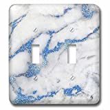 3dRose Uta Naumann Faux Glitter Pattern - Image of Luxury and Trendy Blue Metal Glitter Veins Gray Marble - Light Switch Covers - double toggle switch (lsp_275088_2)