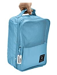 American Trends Travel Shoes Organizers Portable Waterproof Bag Packing Cubes Light Blue
