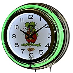 Nostalgic Rat Fink Green Double Neon Lighted Wall Clock Chrome