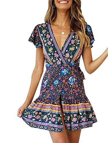 TEMOFON Women's Dresses Summer Bohemian Vintage Floral Printed Ruffle Hem Short Sleeve V-Neck Mini Dress Navy M
