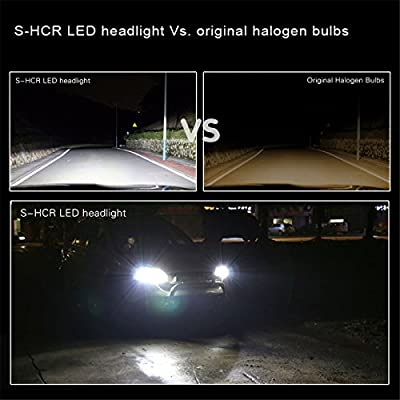 Alla Lighting S-HCR H13 9008 LED Headlights Bulbs 10000 Lumens Extremely Super Bright Xenon White Hi/Low Beam Conversion Kits Headlamps Replacement for Cars, Trucks: Automotive
