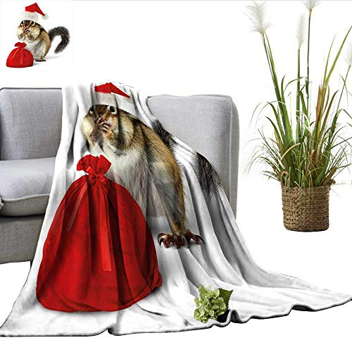 ScottDecor Christmas Warm Blanket Chipmunk in Red Santa Claus Hat and Bag with Surprise Xmas Presents Huge Blanket Light Yellow White Red W50 xL60 -