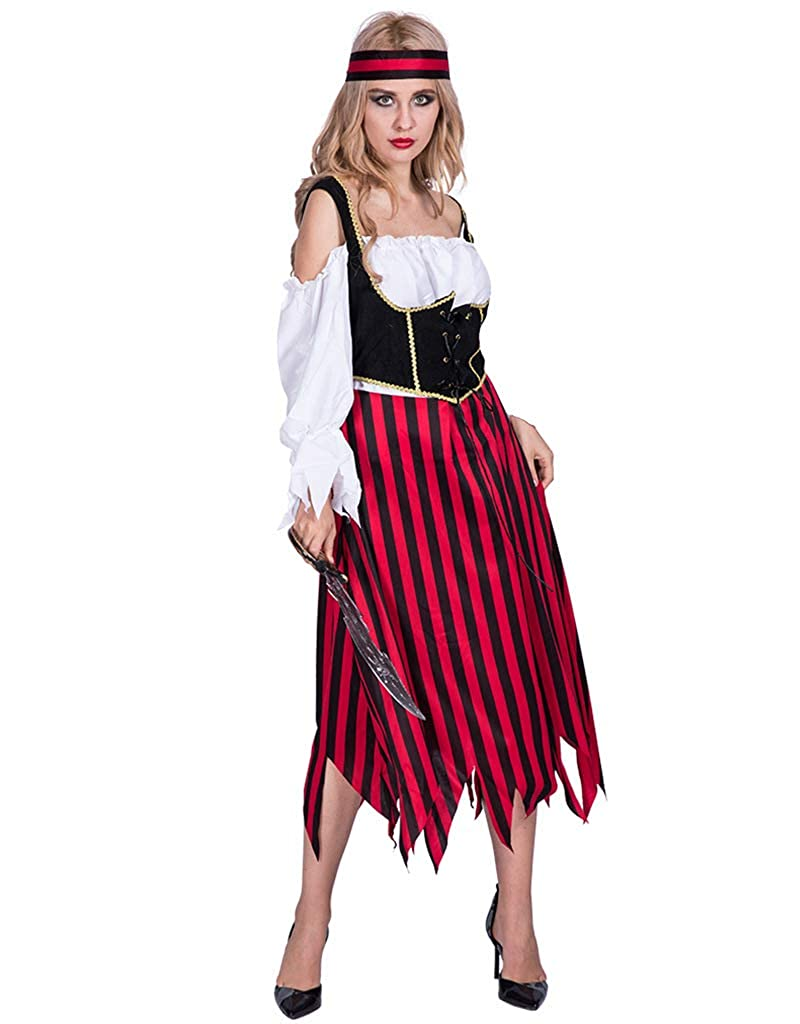 Amazon.com  DENTRUN Women s Suit Pirate Cospaly Dress 3a3ae8fbdc