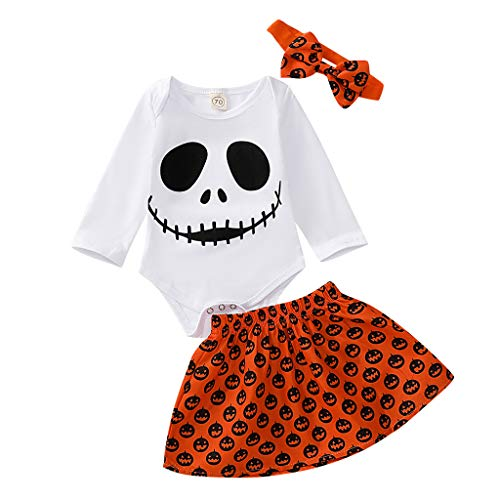 Baby Girl Halloween Costume 3PCS Newborn Infant Kids Ghost Pumpkin Romper Skirt Outfits Set Size 0-2T (Recommended Age:3-6 Months, White) (Halloween Costumes For 1 Year Old Boy Uk)