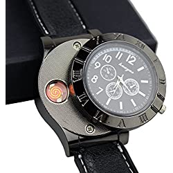 Electronic Cigarette Lighter, Funny GO Rechargeable Electric USB Cigar Lighter Watch, Novelty Gift for Men, Windproof and Flameless, Black