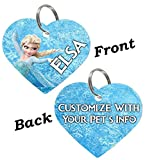 uDesignUSA Disney Double Sided Pet Id Tags for Dogs & Cats Personalized for Your Pet (Elsa, Heart Shaped)